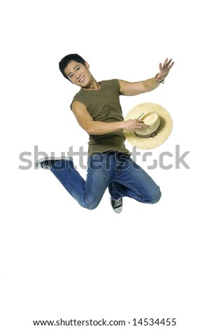 young Asian man jumping, isolated in white