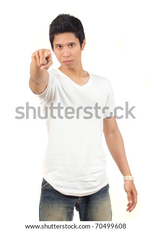 young asian man pointing at camera - stock photo