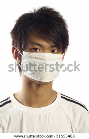 Young asian man wearing medical mask