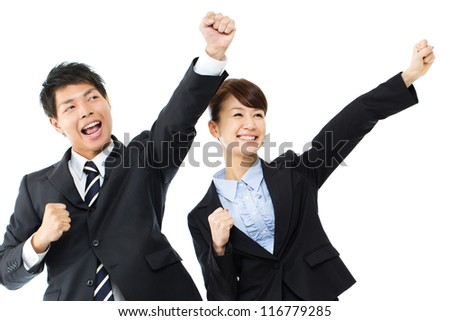 Young asian smiling business woman and businessman - stock photo
