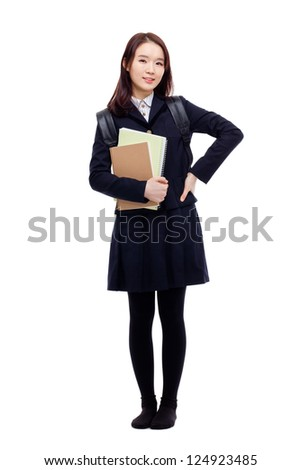 Young Asian student full shot  isolated on white background. - stock photo