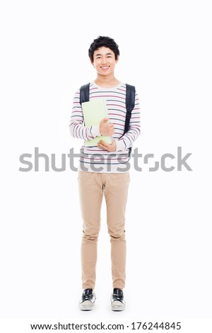Young Asian student isolated on white - stock photo