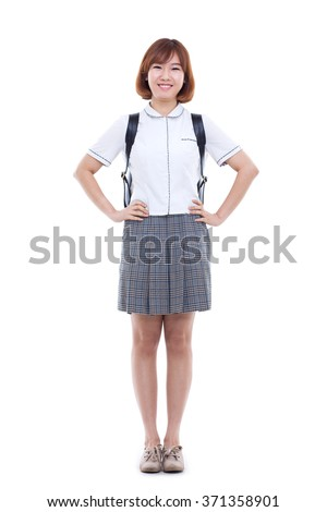 Young Asian student isolated on white background. - stock photo