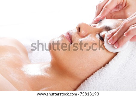 young asian woman clean up for applying facial - stock photo