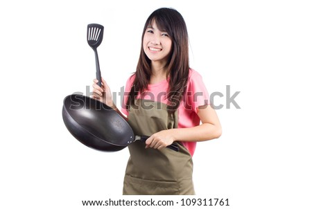 Young asian woman cooking healthy food, isolated on white