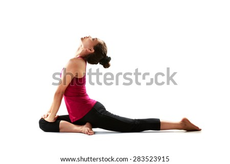 Young asian woman doing yoga, Isolated over white