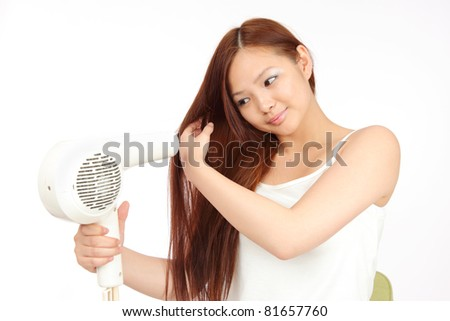 Young asian woman drying Hair