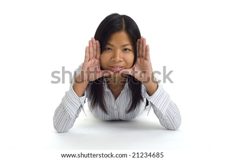 young asian woman framed face