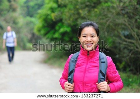 young asian woman hiker outdoor
