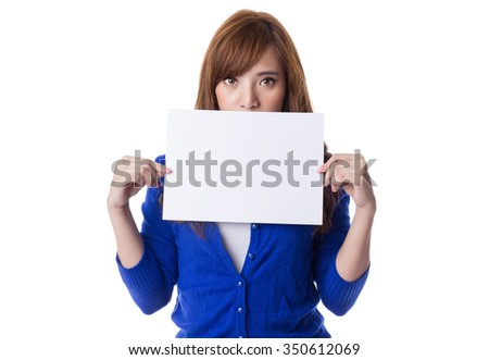 Young asian woman holding blank sign or blank paper, isolated on white background - stock photo