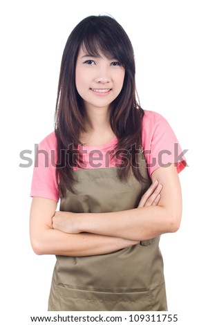 Young asian woman housewife on white background