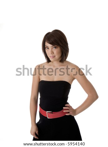 Young Asian woman in black dress with red belt isolated on white background - stock photo