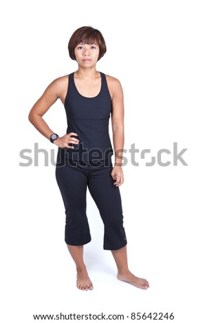 Young Asian woman in fitness outfit