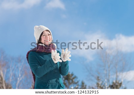 Young Asian woman in winter fashion