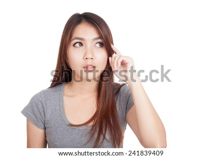 Young Asian woman is thinking  isolated on white background