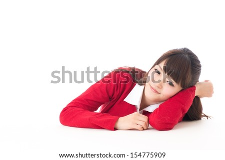 young asian woman lying on the table