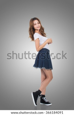Young Asian woman, portrait at studio. - stock photo