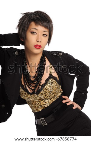 Young Asian woman posing isolated on a white background - stock photo