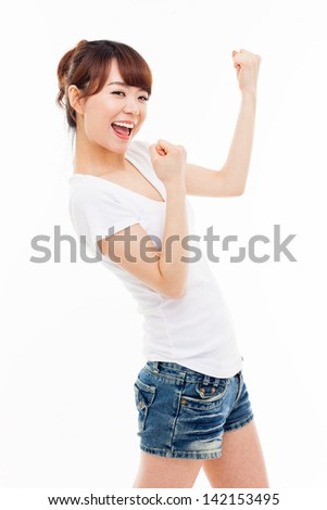 Young Asian woman showing fist isolated on white background. - stock photo