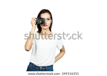 young asian woman taking picture with slr vintage camera isolated white background. - stock photo