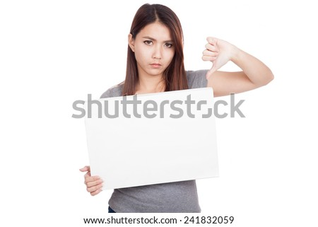 Young Asian woman thumbs down with blank sign  isolated on white background