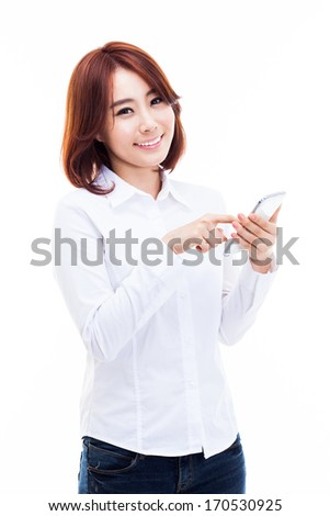 Young Asian woman using a smart phone isolated on white background.