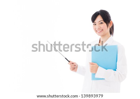 young asian woman wearing white coat teaching on white background - stock photo