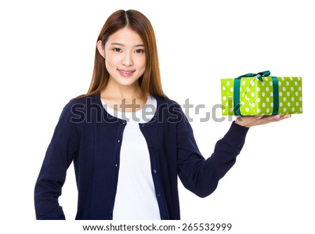 Young asian woman with a gift