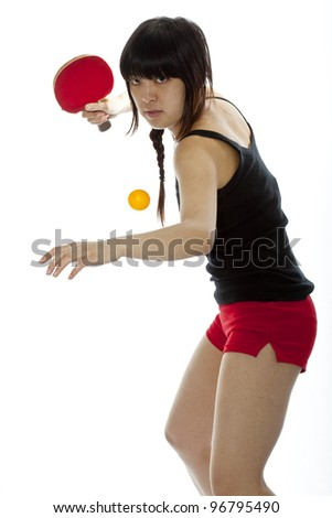 Young Asian woman with a ping-pong racket isolated on white. Closeup, vertical composition