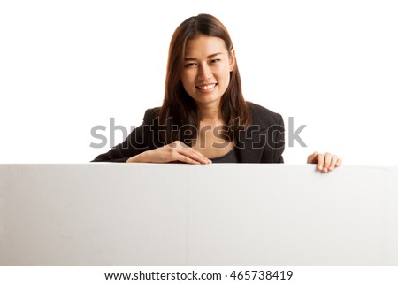 Young Asian woman with blank sign  isolated on white background.