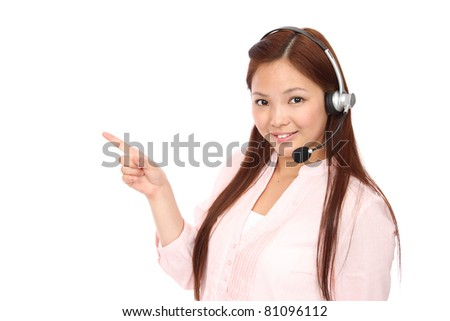 Young Asian women call center - stock photo