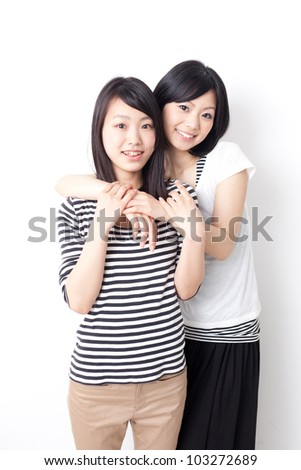 young asian women relaxing on white background - stock photo