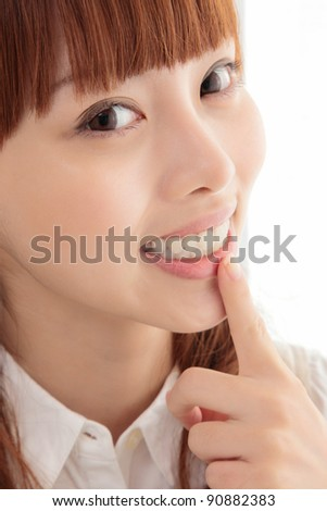 Young Asian women white teeth - stock photo
