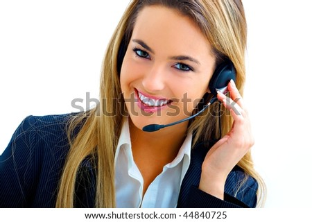 young assistant on call center - stock photo