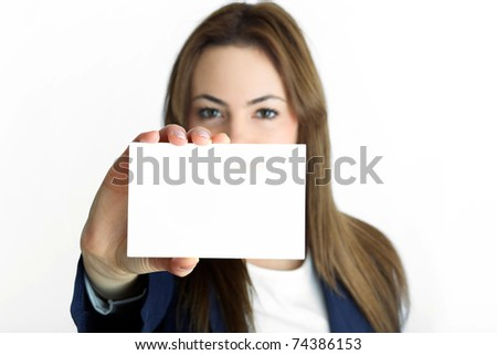 young assistant with card - stock photo
