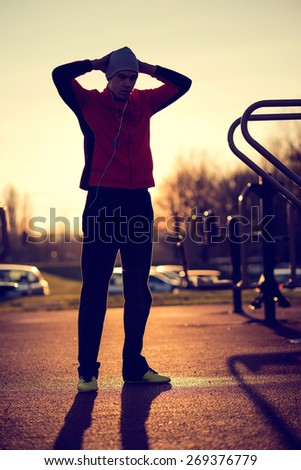 Young athlete after a hard workout - stock photo