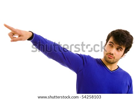 young atractive man pointing with is finger, isolated on white