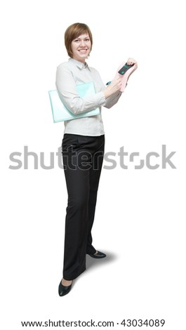 young attractive accountant holding a calculator on white background - stock photo