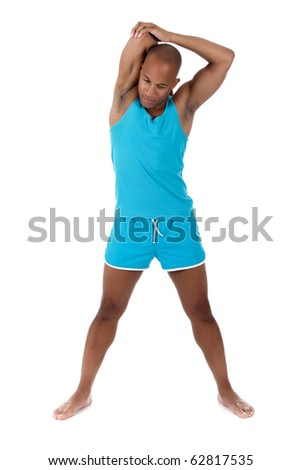 Young attractive African American man athlete doing fitness exercises. White background. Studio shot. - stock photo