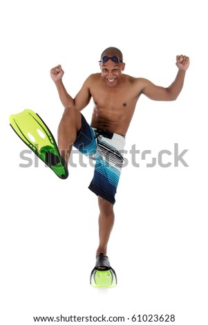 Young attractive African American man in swimsuit with flippers, goggles and  and with the foot bent in a knee. Happy swimmer. Studio shot. White background - stock photo