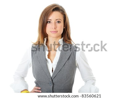 Young attractive and confident business woman, isolated on white - stock photo