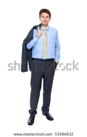young attractive and confident businessman, full body shoot, studio shoot isolated on white background - stock photo