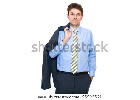 young attractive and confident businessman, half portrait, studio shoot isolated on white background - stock photo