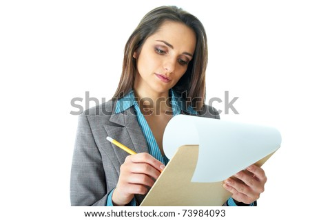 young attractive and elegant businesswoman make notes on wooden board, isolated on white background