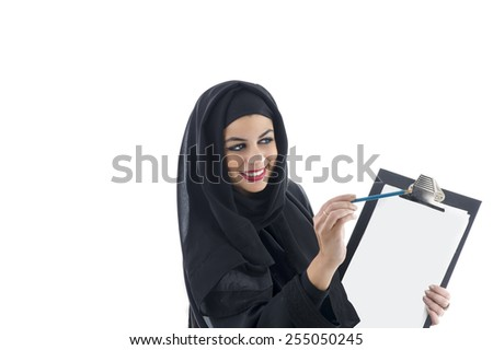 young attractive arabic business woman showing clipboard isolated on white background - stock photo