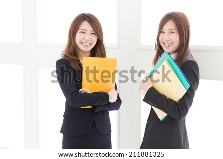 young attractive asian businesswomen - stock photo