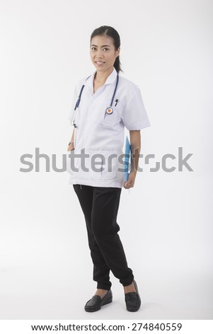 Young attractive asian doctor full body - stock photo