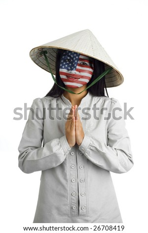young attractive asian woman with us flag painted on her face and typical welcome expression - stock photo