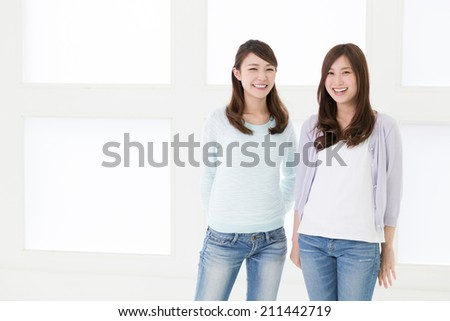 young attractive asian women relaxing - stock photo