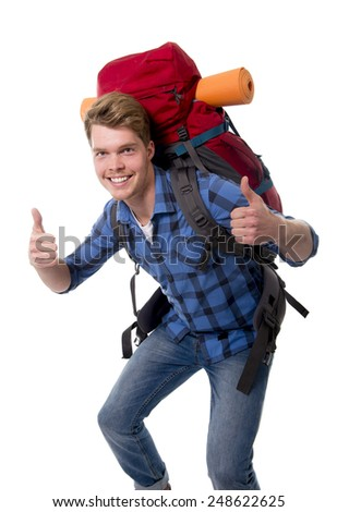 young attractive  backpacker tourist giving thumbs up carrying backpack ready for travel and adventure on vacations and holidays isolated on white background - stock photo